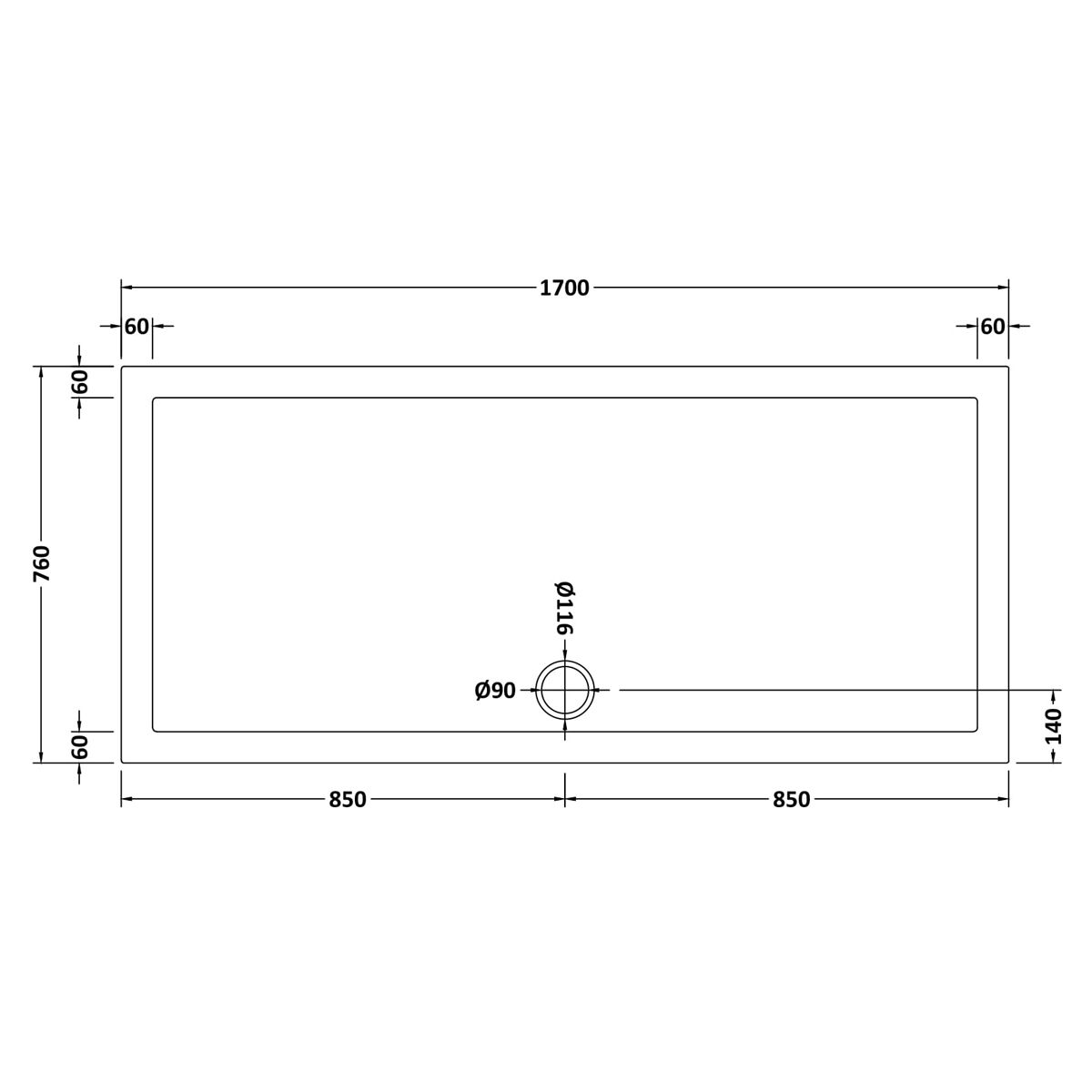 1700 x 760 Shower Tray Rectangular Low Profile by Pearlstone Dimensions