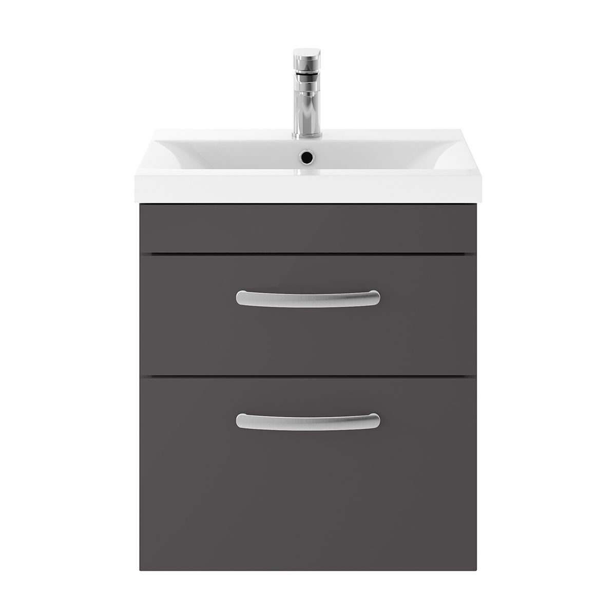 Nuie Athena Gloss Grey 2 Drawer Wall Hung Unit 500mm with Mid Edge Basin