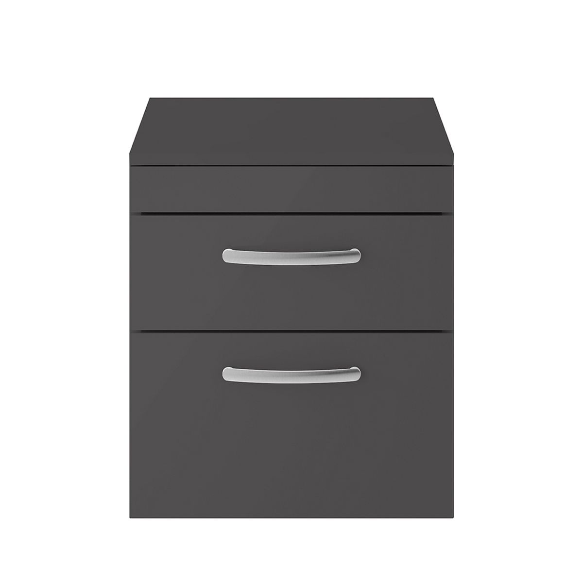 Nuie Athena Gloss Grey 2 Drawer Wall Hung Unit 500mm with Worktop