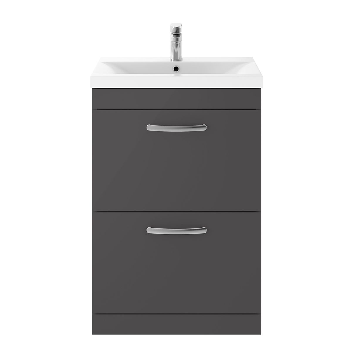 Nuie Athena Gloss Grey 2 Drawer Floor Standing Unit