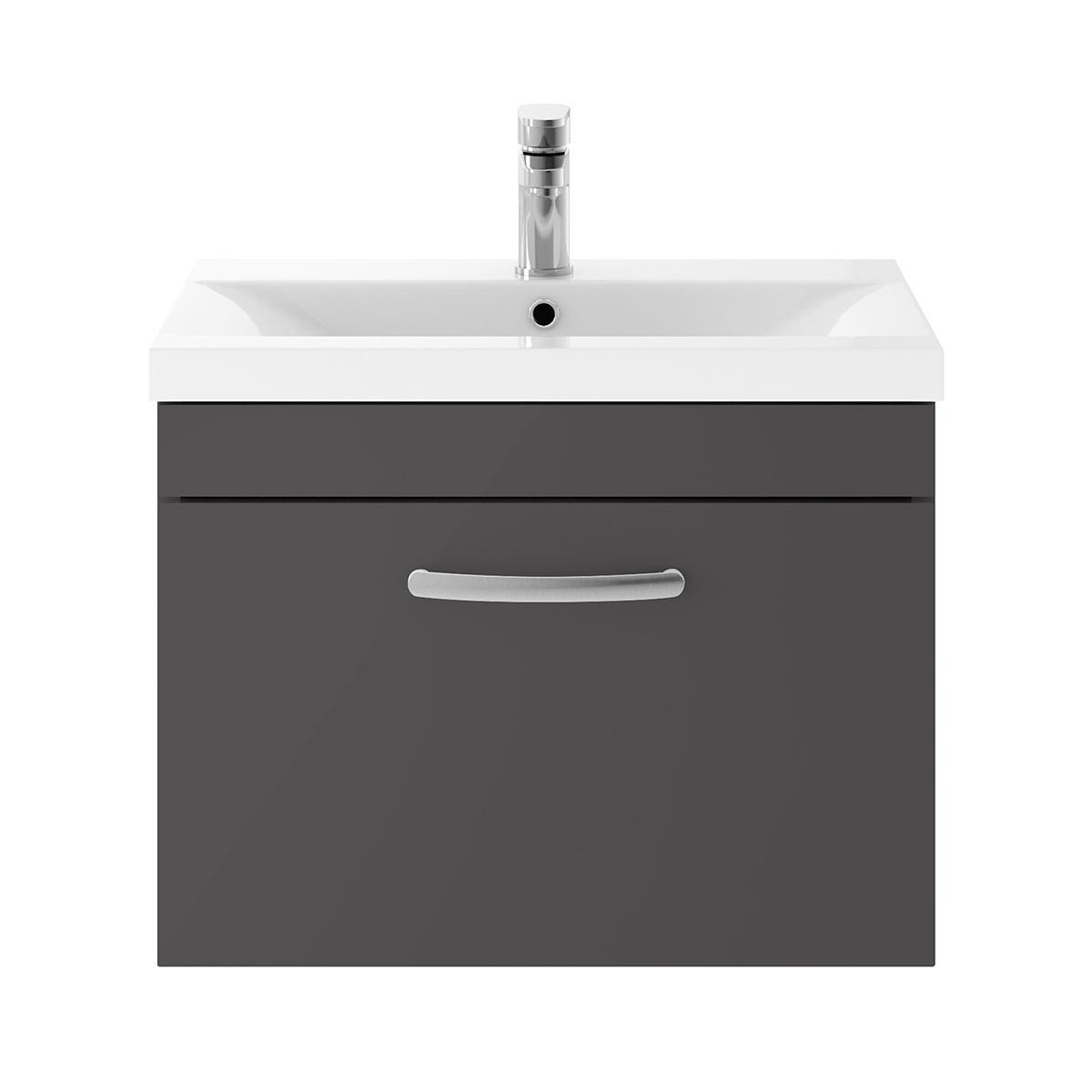Nuie Athena Gloss Grey 1 Drawer Wall Hung Unit 600mm with Mid Edge Basin