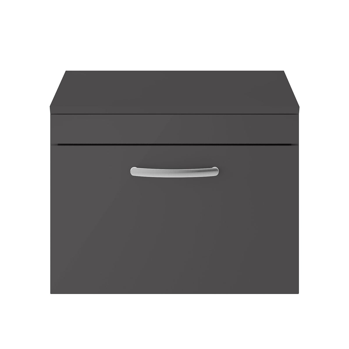Nuie Athena Gloss Grey 1 Drawer Wall Hung Unit 600mm with Worktop