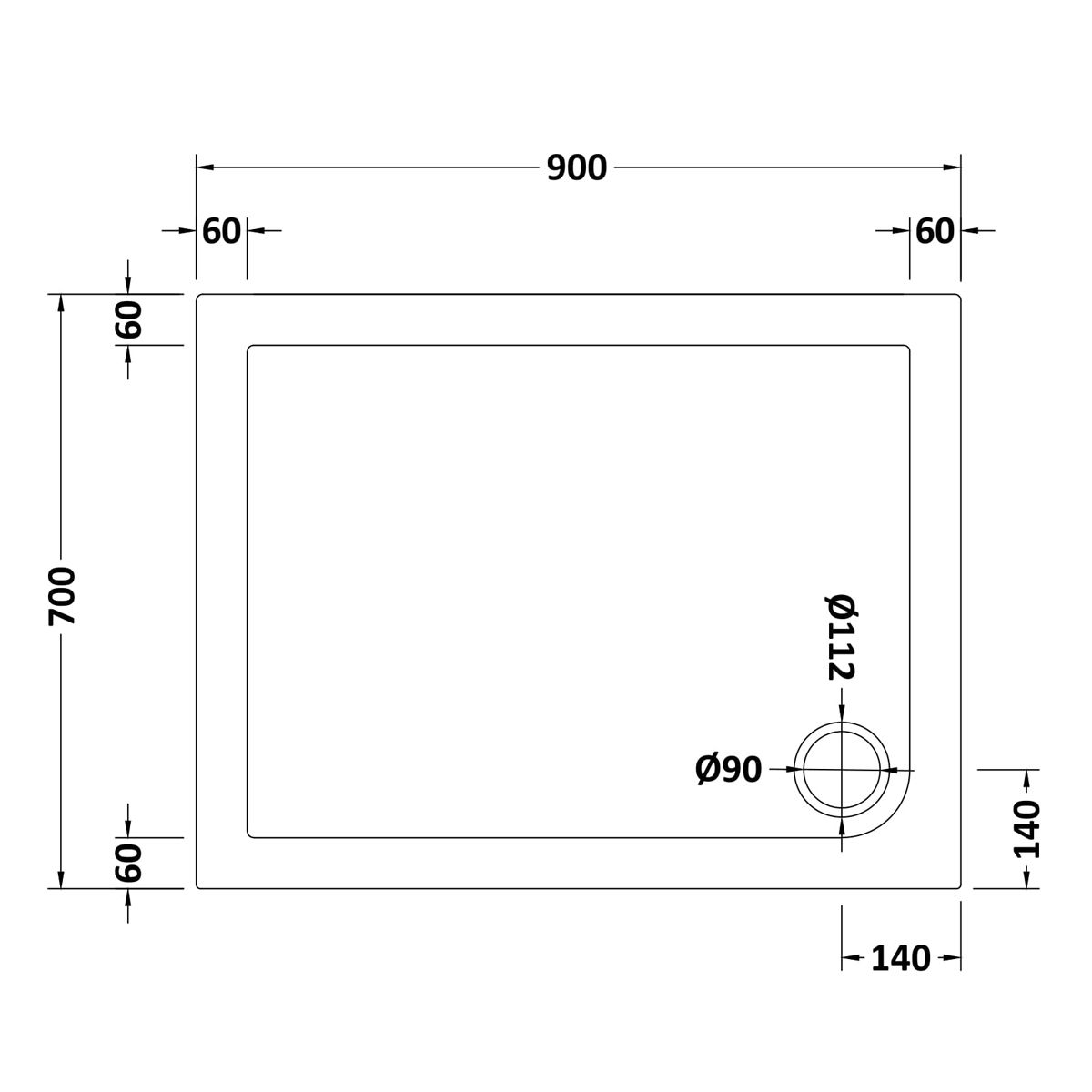 900 x 700 Shower Tray Rectangular Low Profile by Pearlstone Dimensions