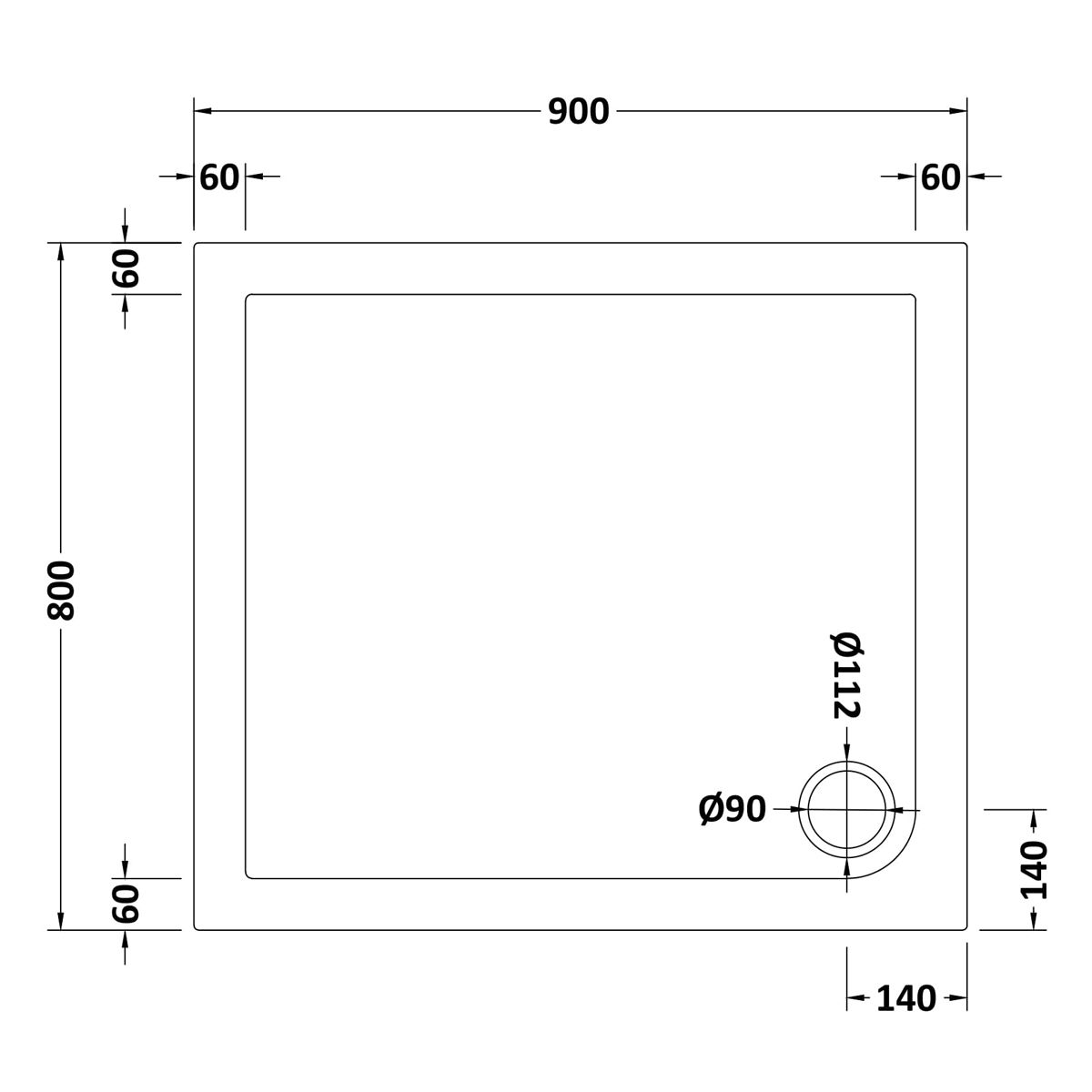 900 x 800 Shower Tray Slate Grey Rectangular Low Profile by Pearlstone Dimensions