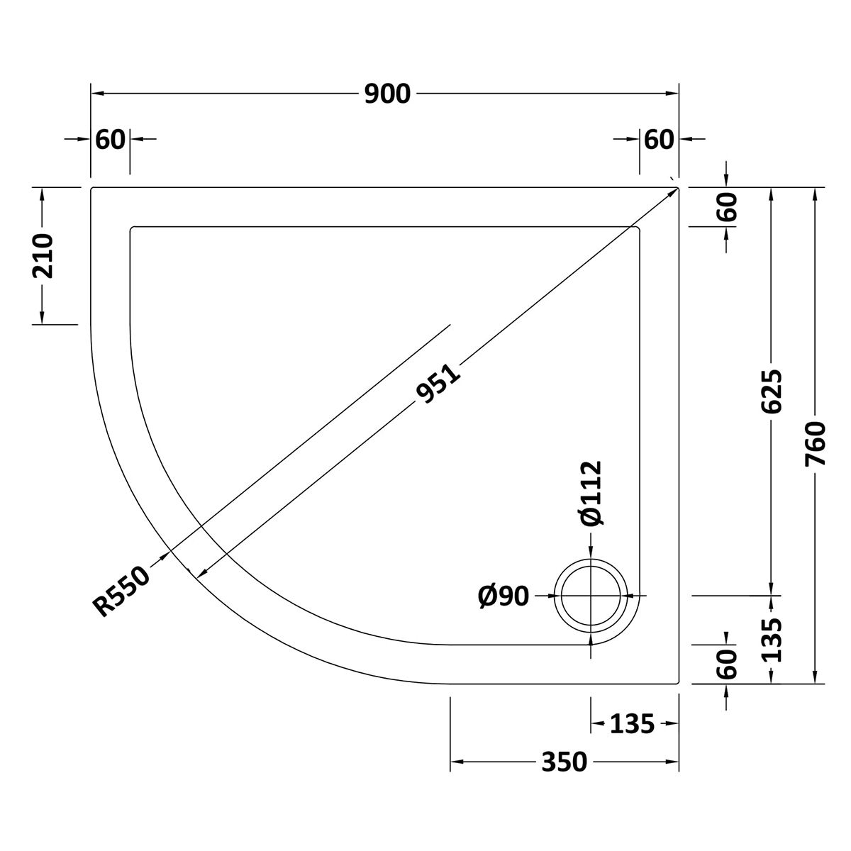 900 x 760 Shower Tray Offset Quadrant Low Profile Left Hand by Pearlstone Line Drawing