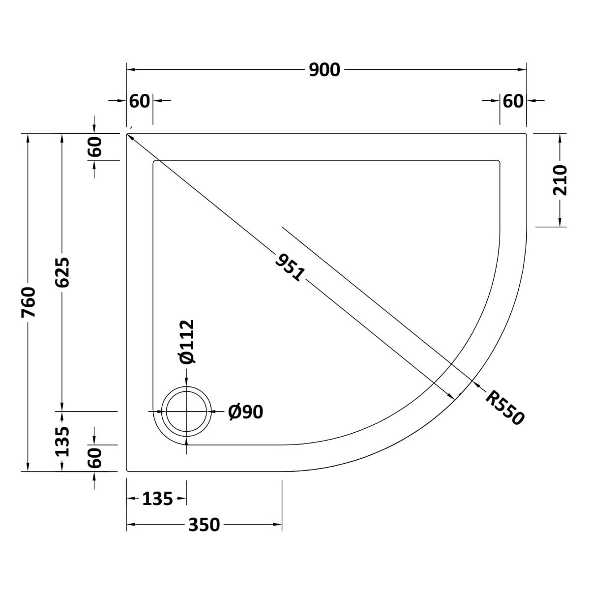 900 x 760 Shower Tray Slate Grey Offset Quadrant Low Profile Right Hand by Pearlstone Line Drawing
