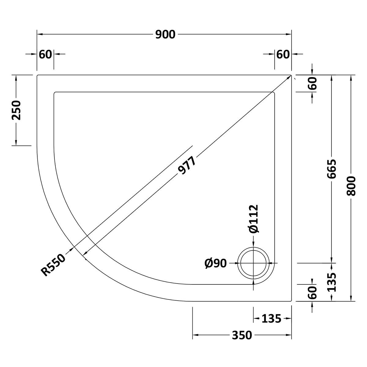 900 x 800 Shower Tray Offset Quadrant Low Profile Left Hand by Pearlstone Line Drawing