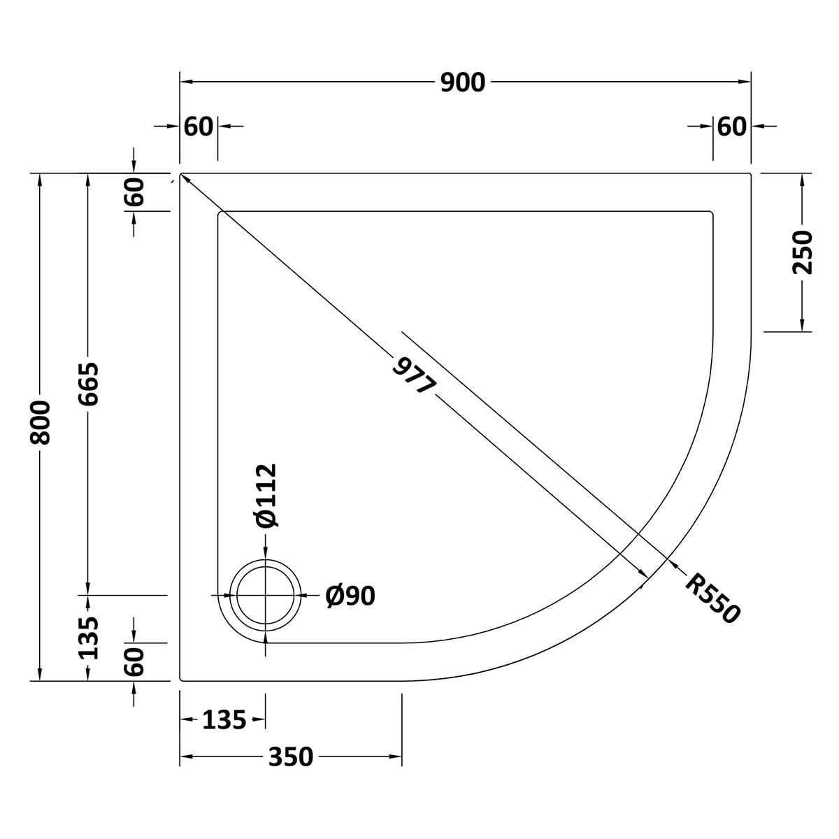 900 x 800 Shower Tray Offset Quadrant Low Profile Right Hand by Pearlstone Line Drawing