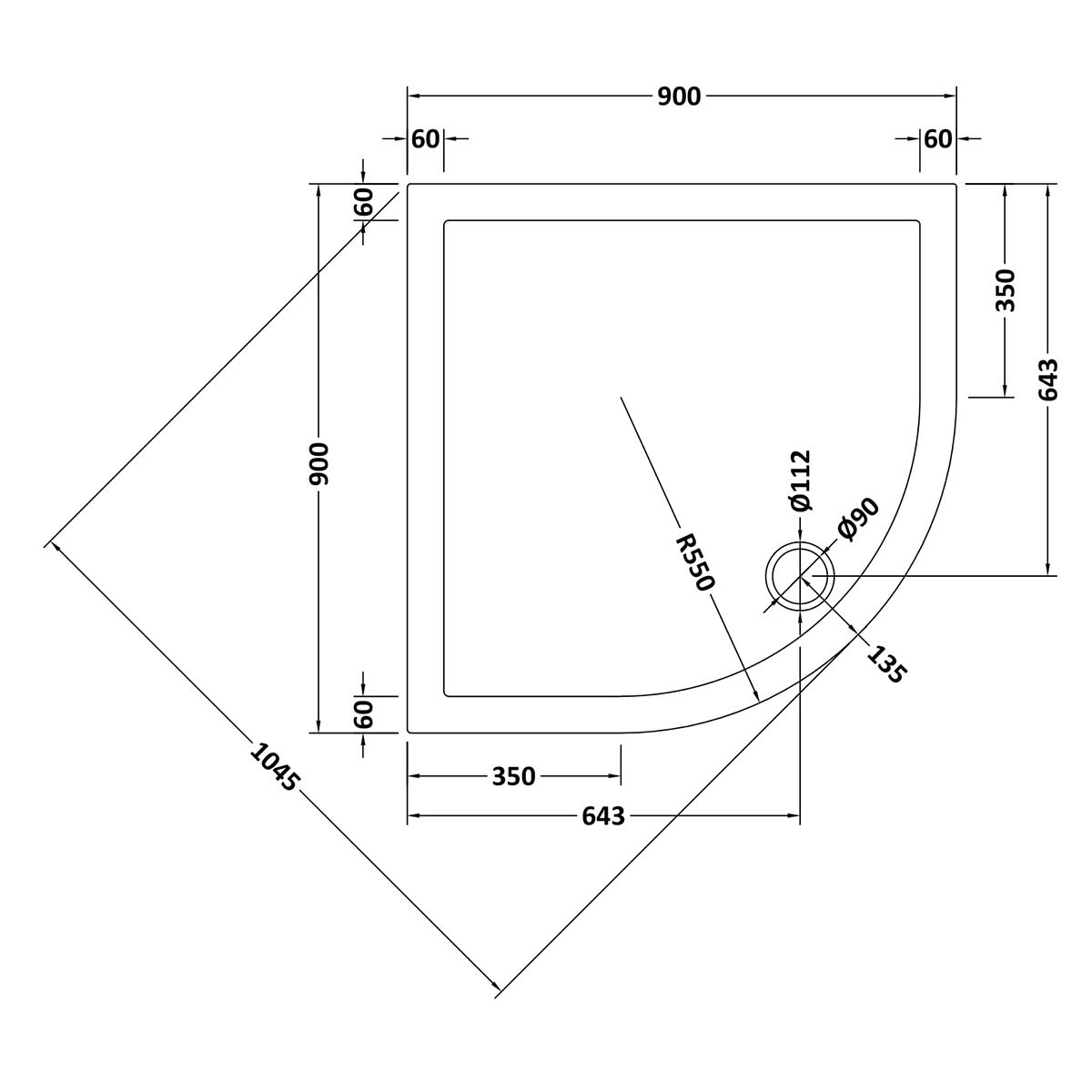 900 x 900 Shower Tray Slate Grey Quadrant Low Profile by Pearlstone Line Drawing