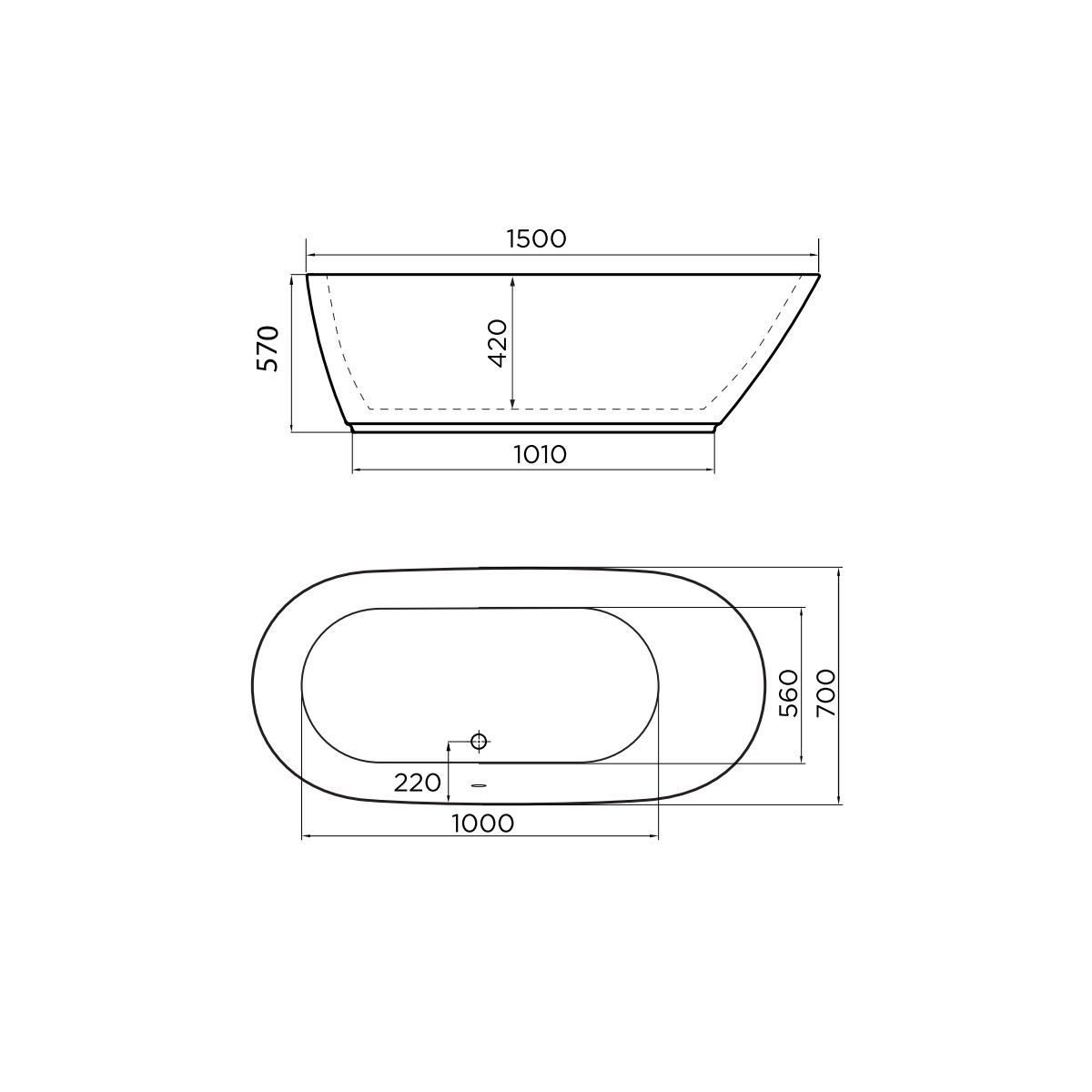 April Cayton Thin Rim Freestanding Bath 1500mm Dimensions