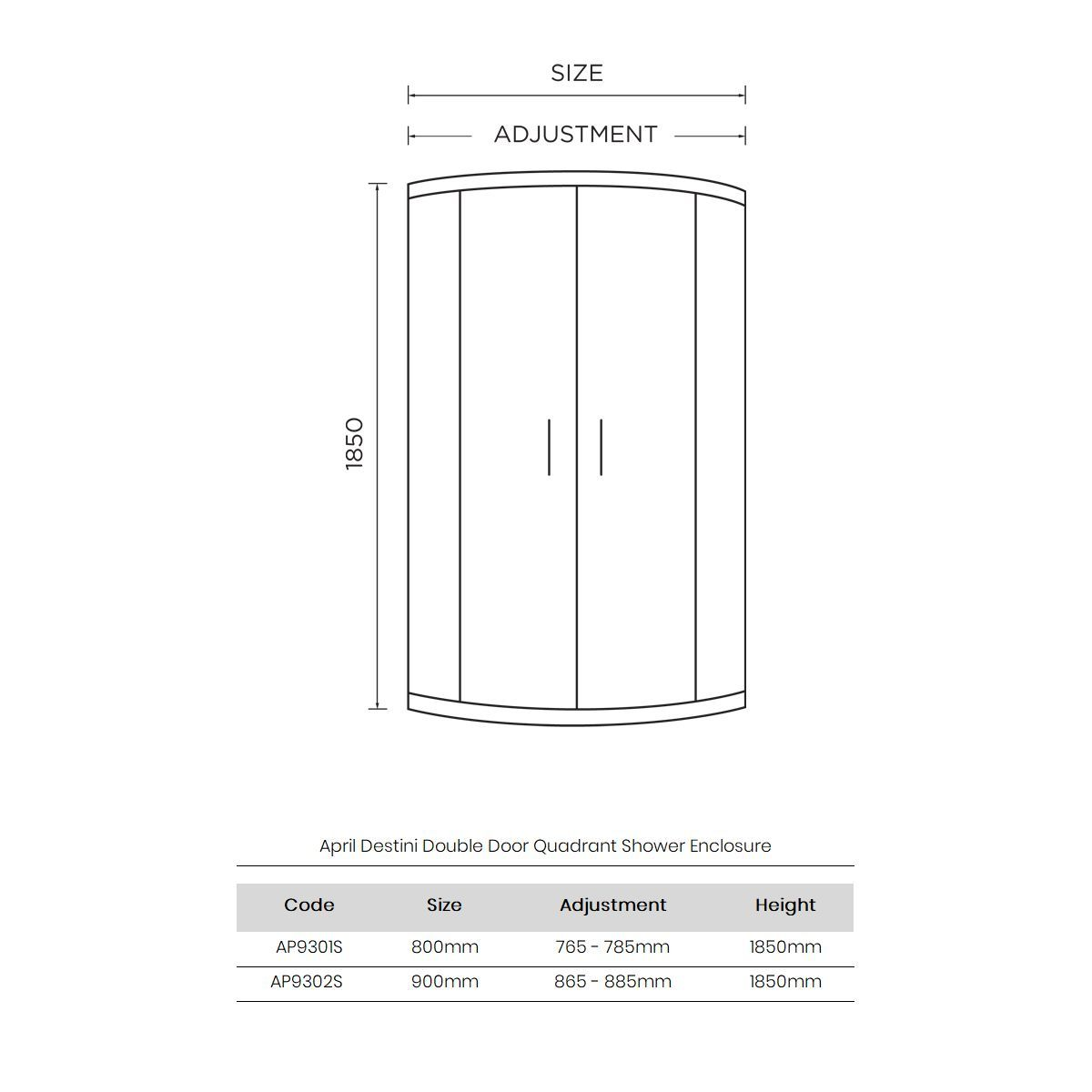 April Destini Quadrant Shower Enclosure Dimensions