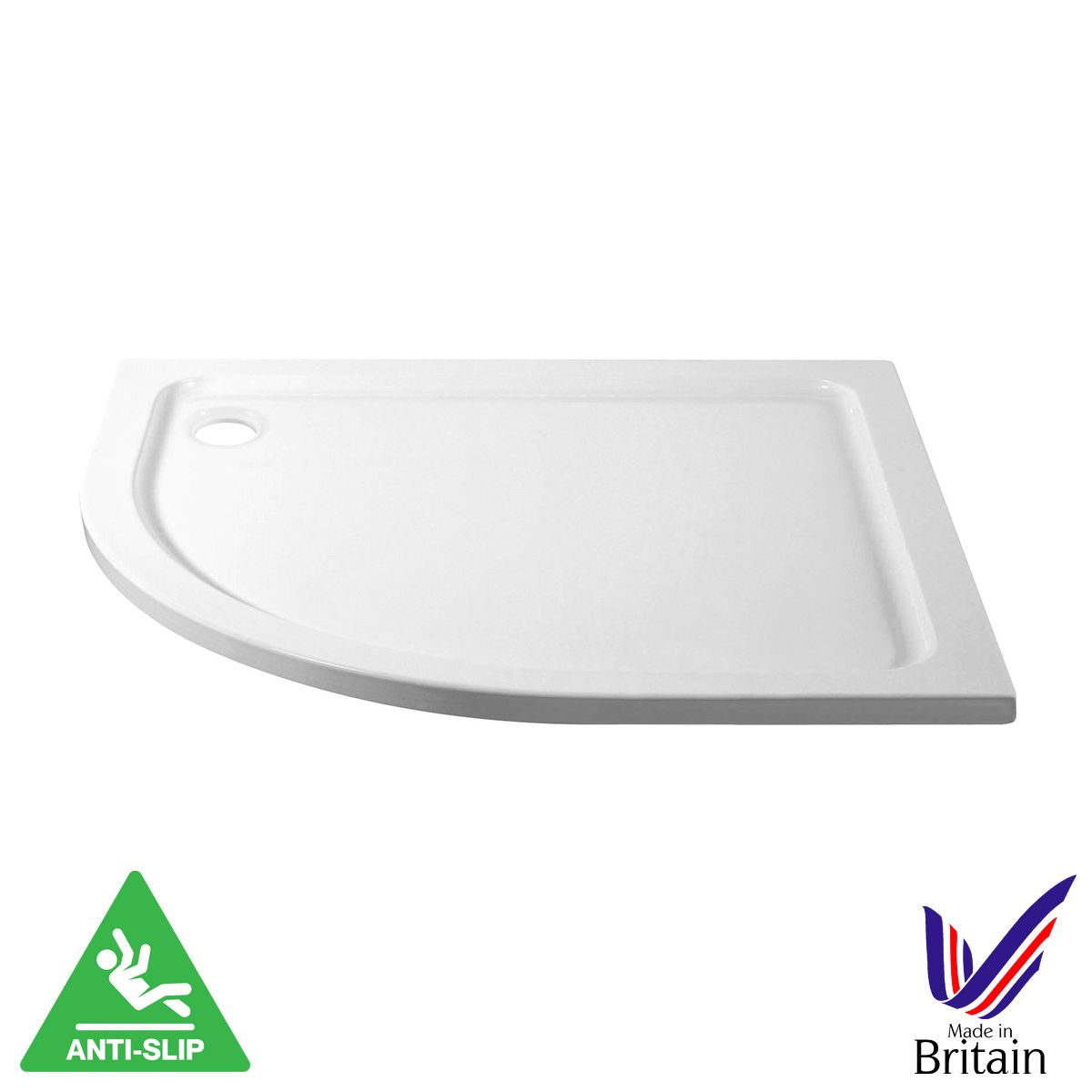 April Offset Quadrant Anti Slip Shower Tray 1000 x 800 Left Hand