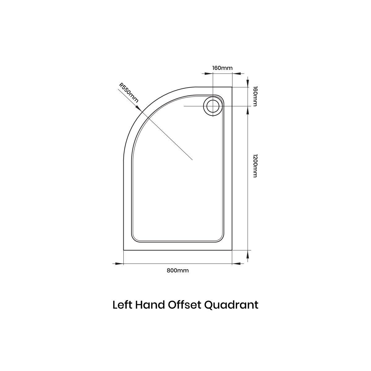 April Offset Quadrant Anti Slip Shower Tray 1200 x 800 Left Handed Line Drawing