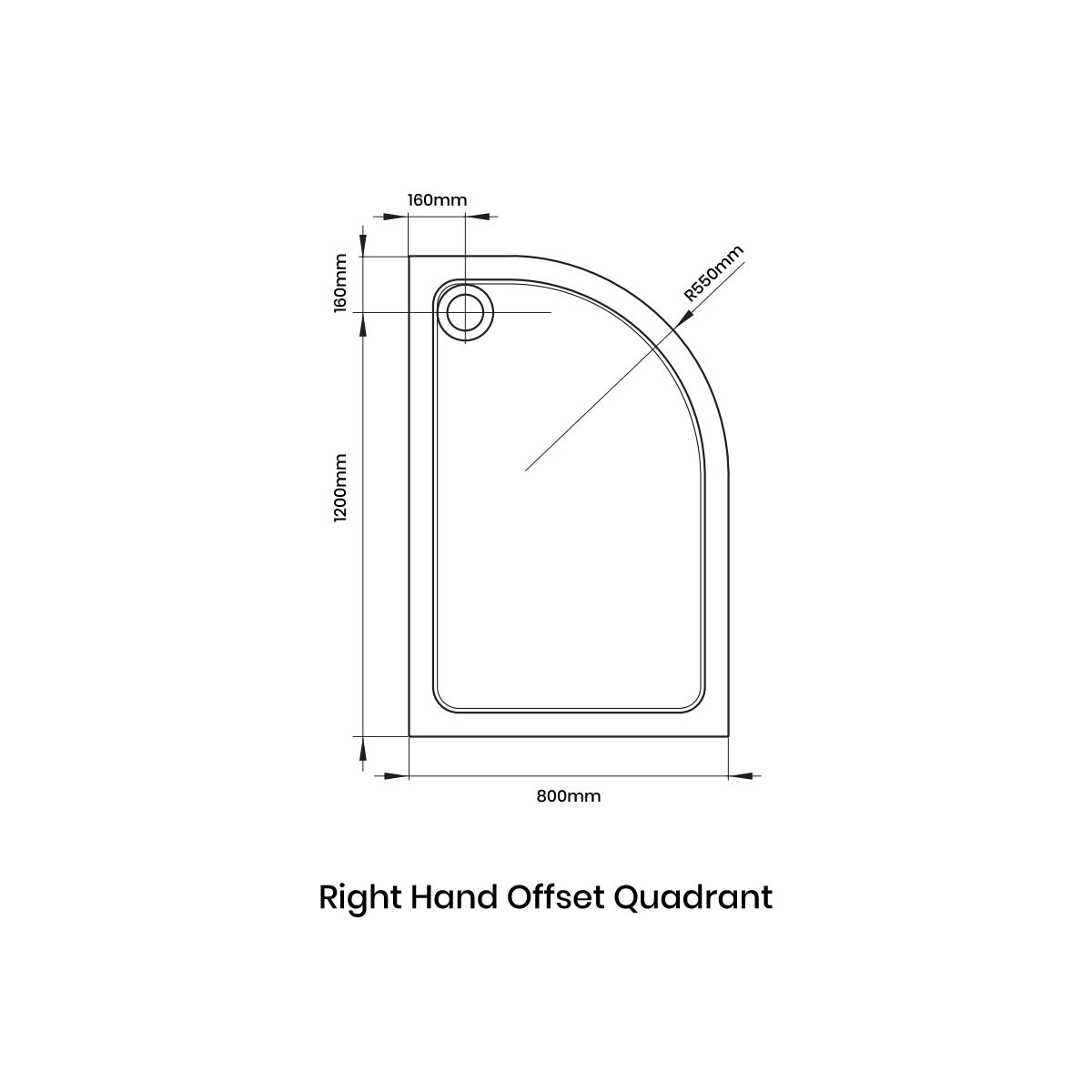 April Offset Quadrant Anti Slip Shower Tray 1200 x 800 Right Handed Line Drawing