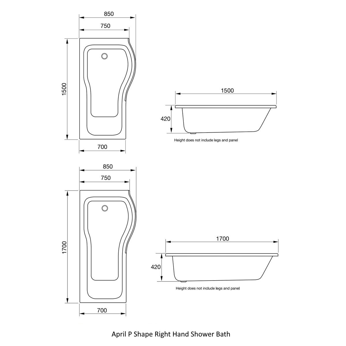 April P Shape Right Hand Shower Bath Drawing Dimensions