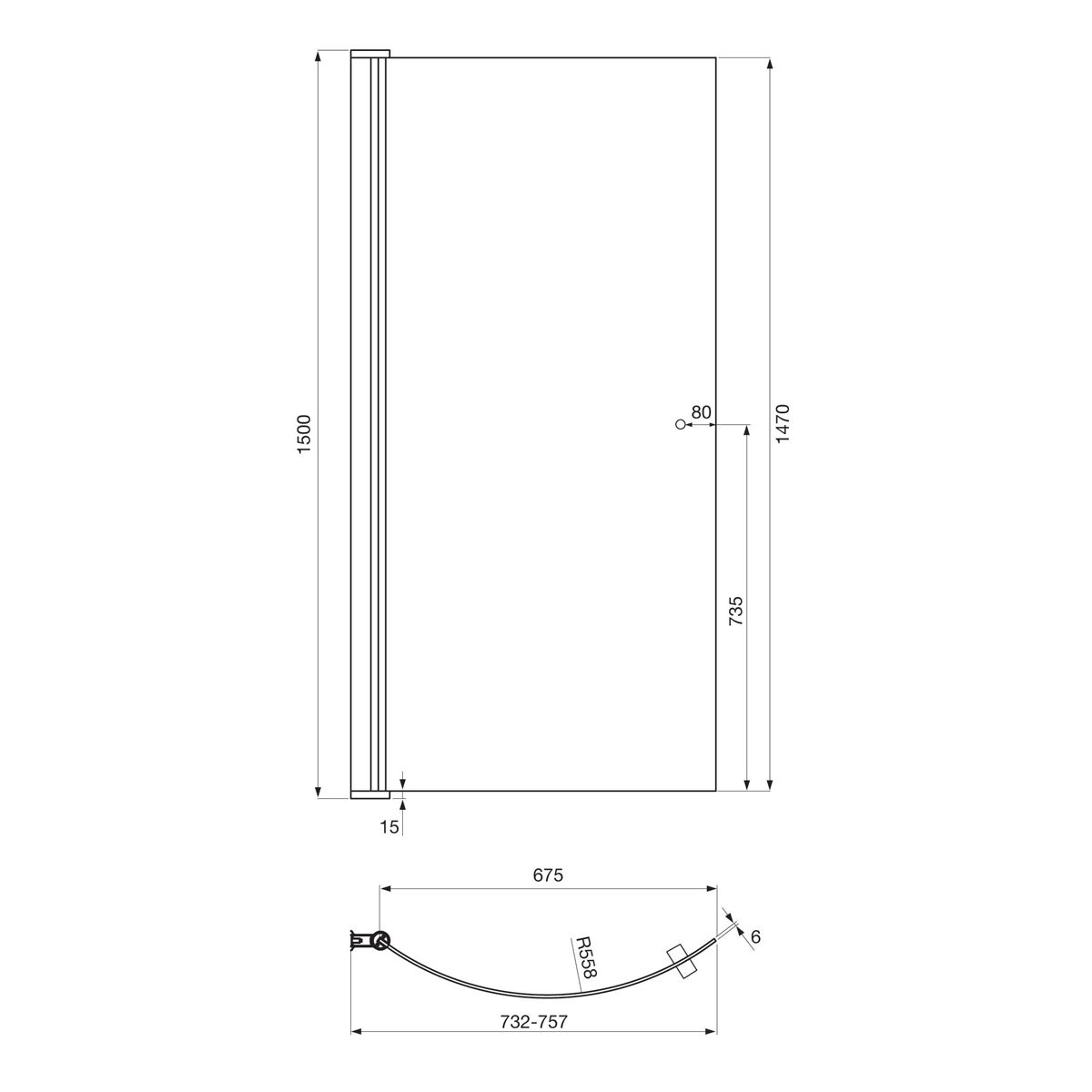 April P Shape Shower Bath Screen Dimensions