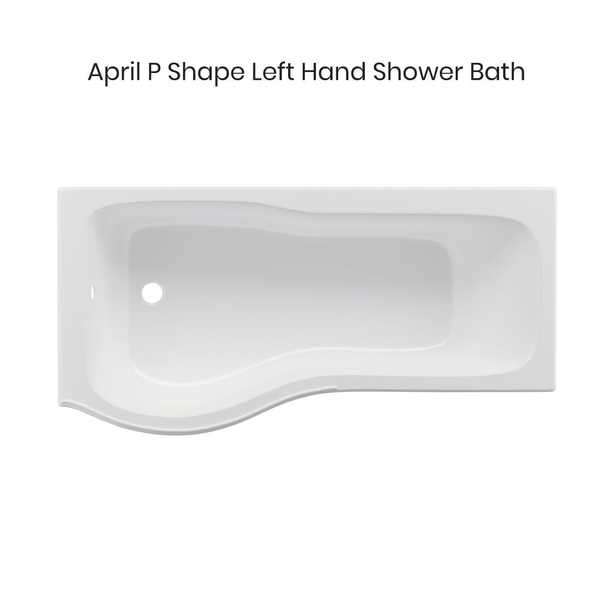 April P Shape Reinforced Shower Bath Left Hand