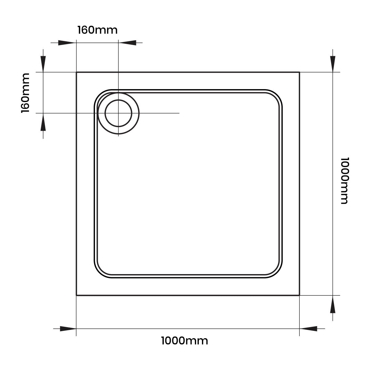 April Square Anti Slip Shower Tray 1000 x 1000 Line Drawing