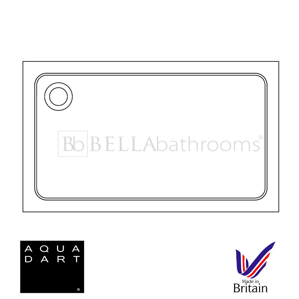 Aquadart Rectangular 1000 x 700 Shower Tray
