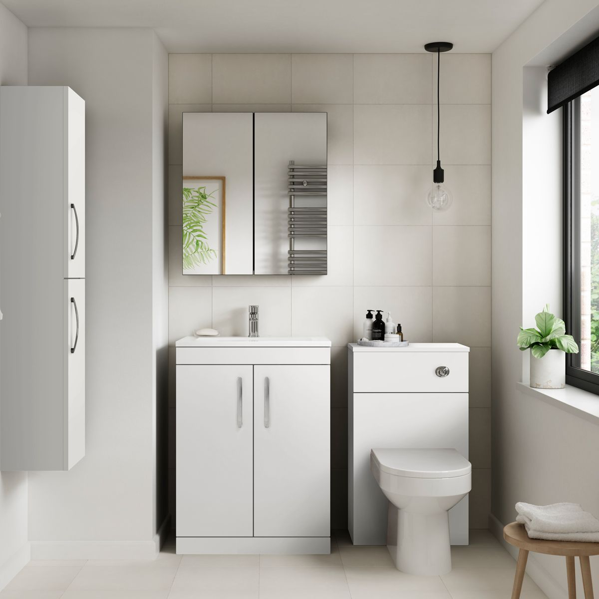 Premier Athena Gloss White Double Door Tall Unit 300mm Lifestyle