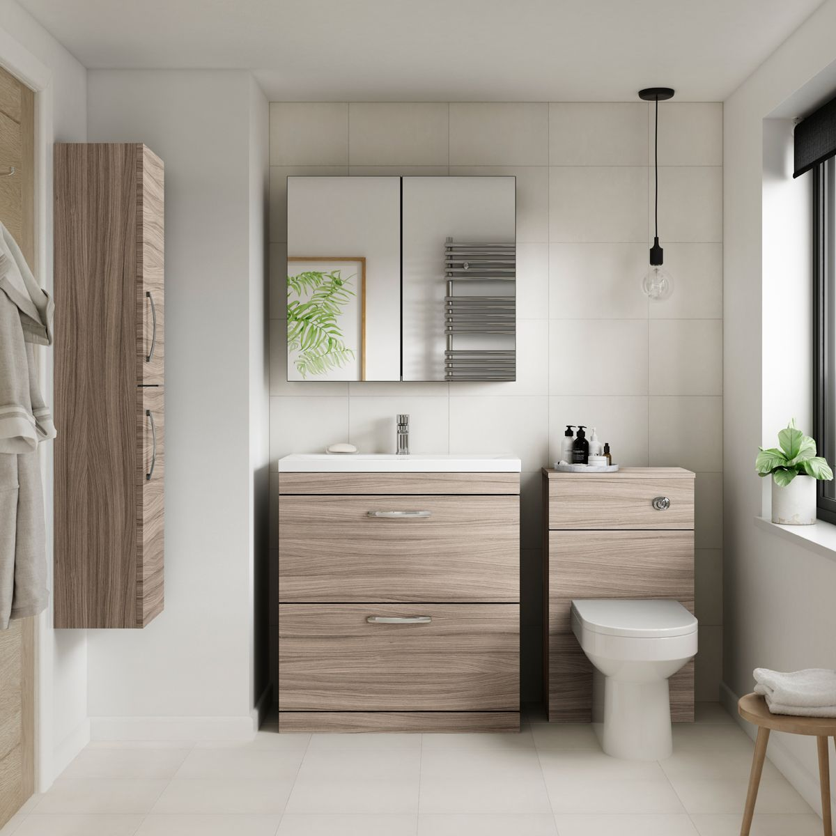 Premier Athena Driftwood Double Door Tall Unit 300mm Lifestyle