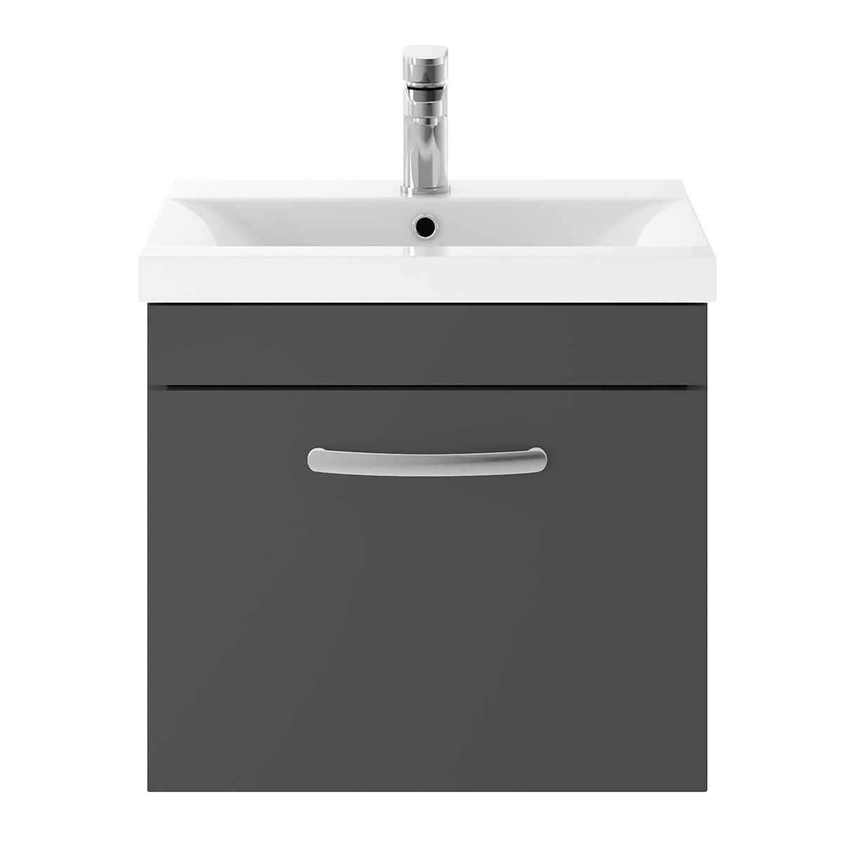 Nuie Athena Gloss Grey 1 Drawer Wall Hung Vanity Unit 500mm with Mid Edge Basin