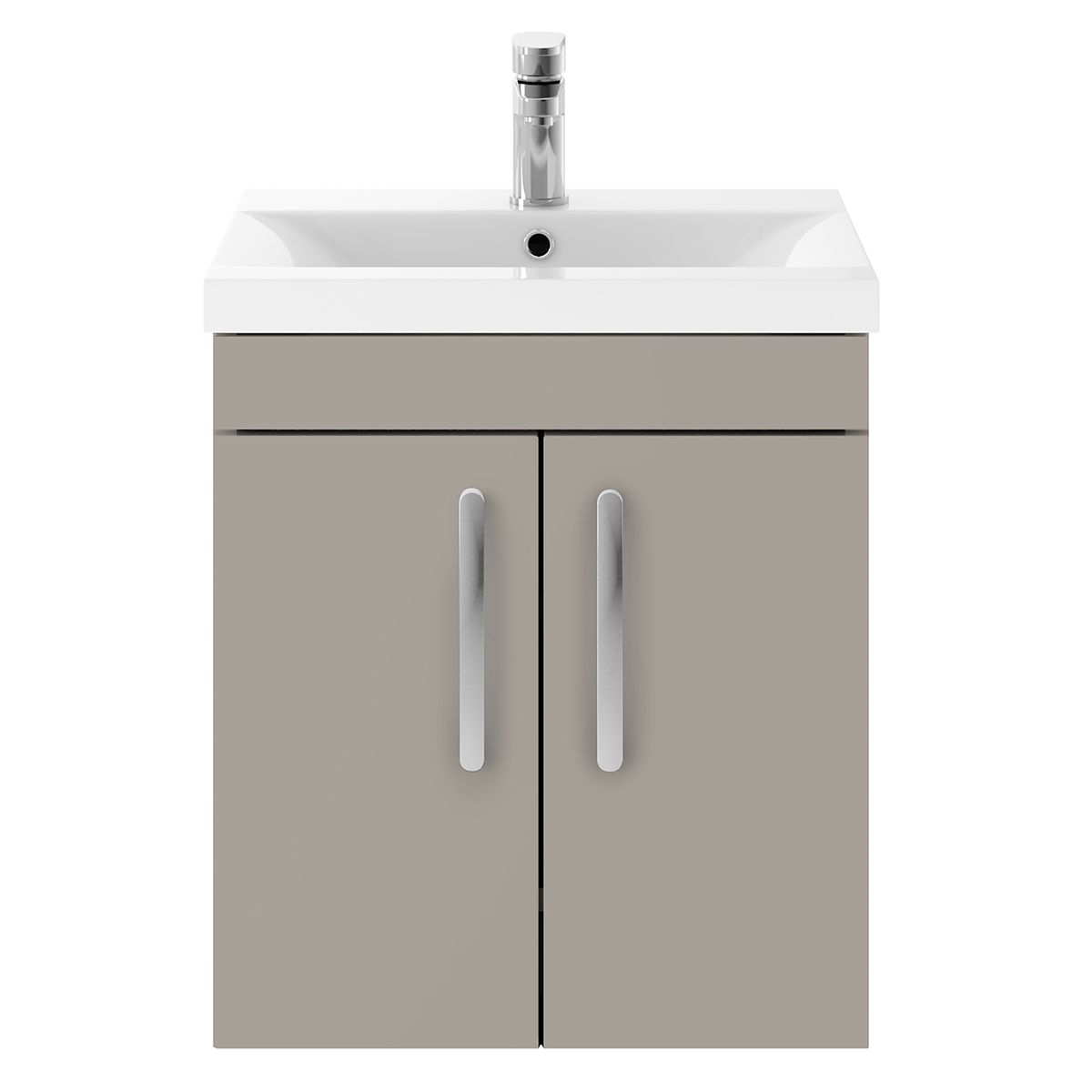 Nuie Athena Stone Grey 2 Door Wall Hung Unit 500mm with Mid Edge Basin