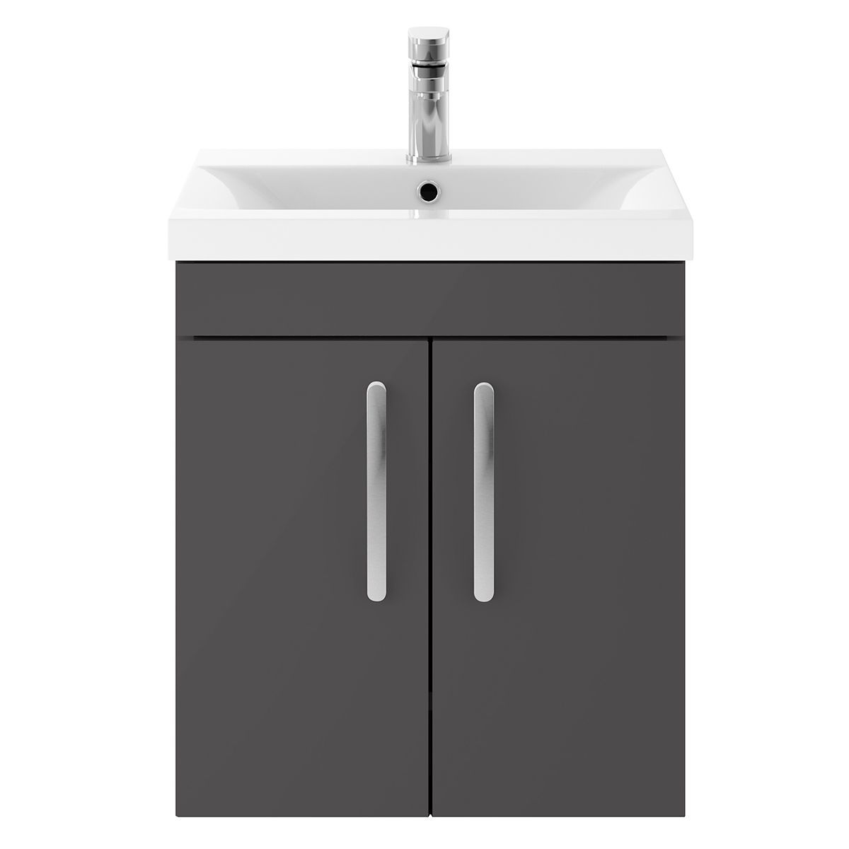 Nuie Athena Gloss Grey 2 Door Wall Hung Unit 500mm with Mid Edge Basin