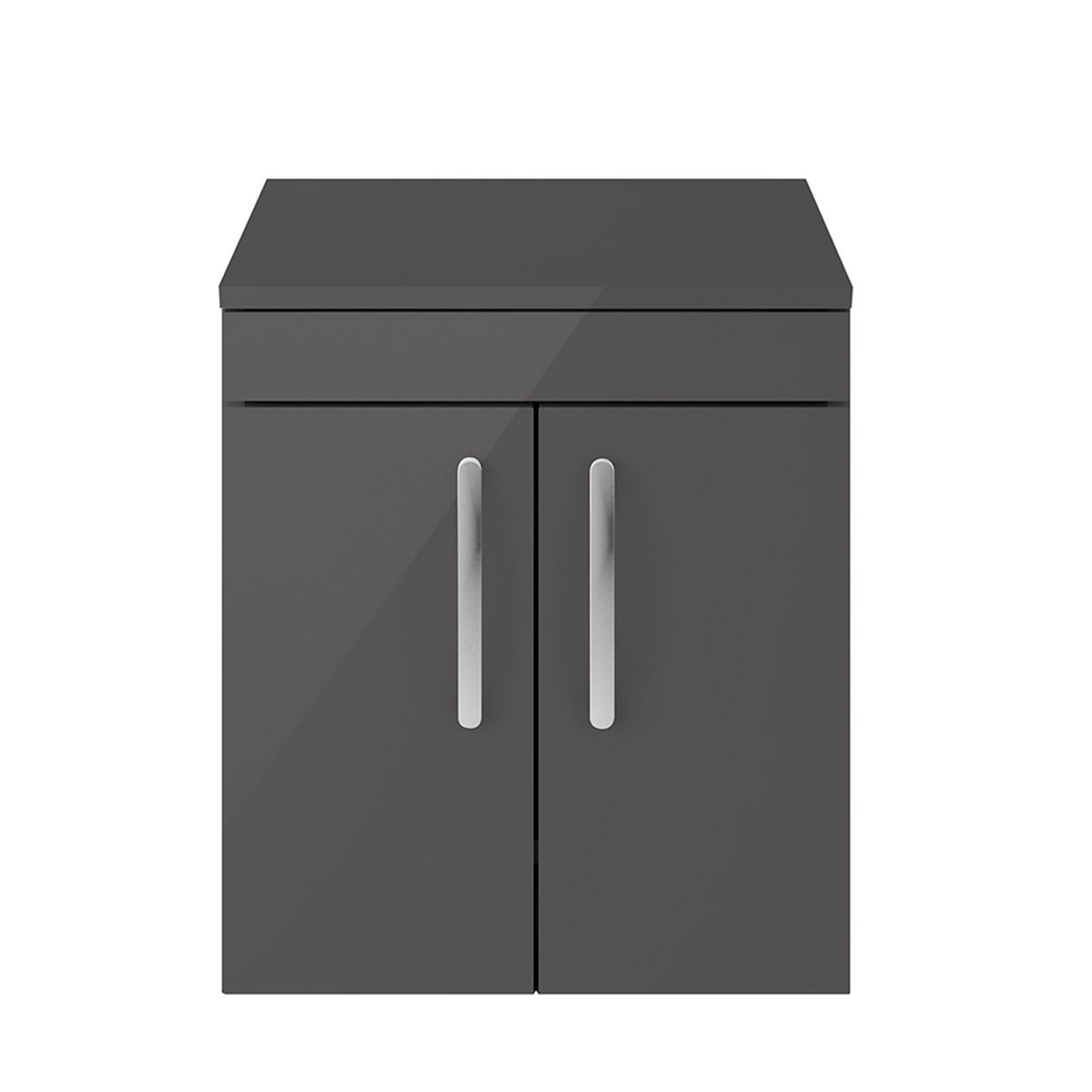 Nuie Athena Gloss Grey 2 Door Wall Hung Unit 500mm with Worktop
