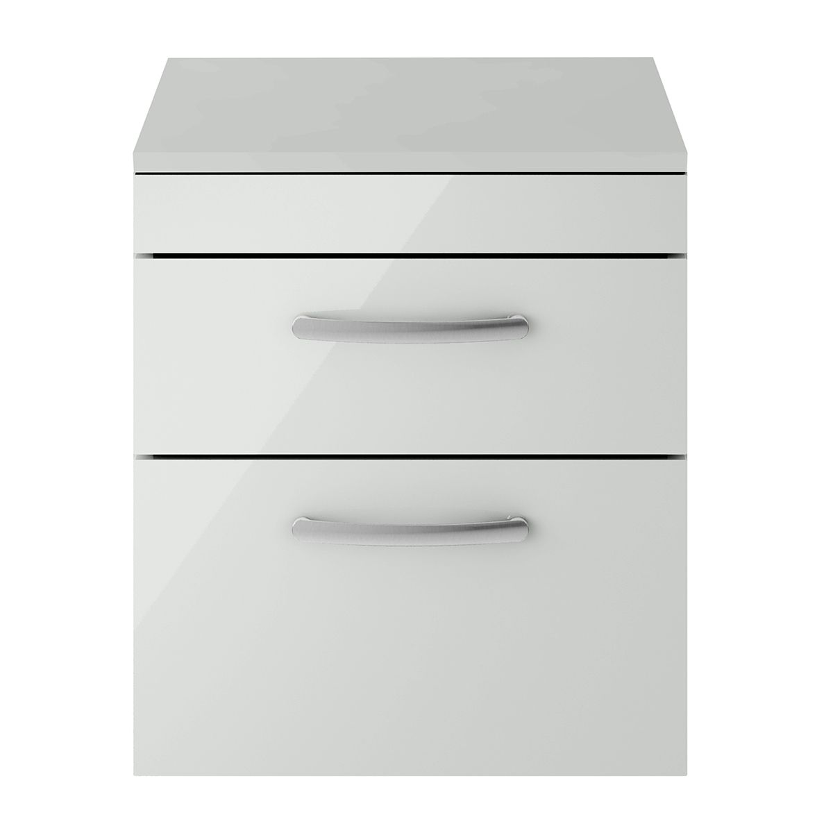 Nuie Athena Gloss Grey Mist 2 Drawer Wall Hung Unit 500mm with Worktop