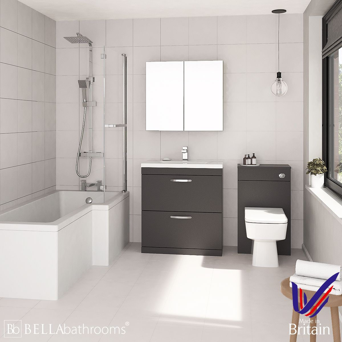 Athena Gloss Grey 800 L Shaped Right Handed Shower Bath Suite