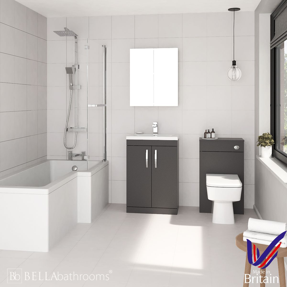 Athena Gloss Grey 600 L-Shaped Right Handed Shower Bath Suite