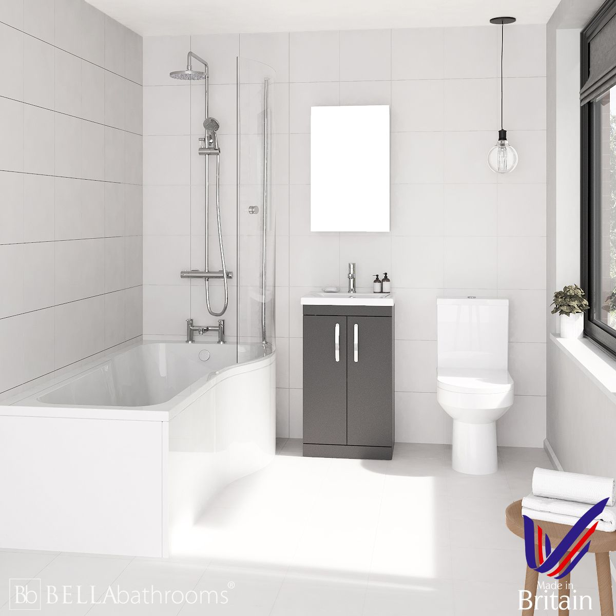 Athena Gloss Grey 500 P-Shaped Right Handed Bath Suite