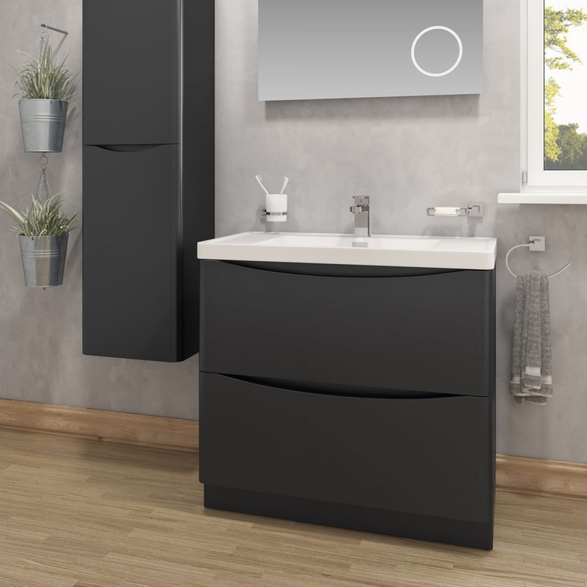 Bali Matt Black Wall Mounted Vanity Unit 600mm Lifestyle
