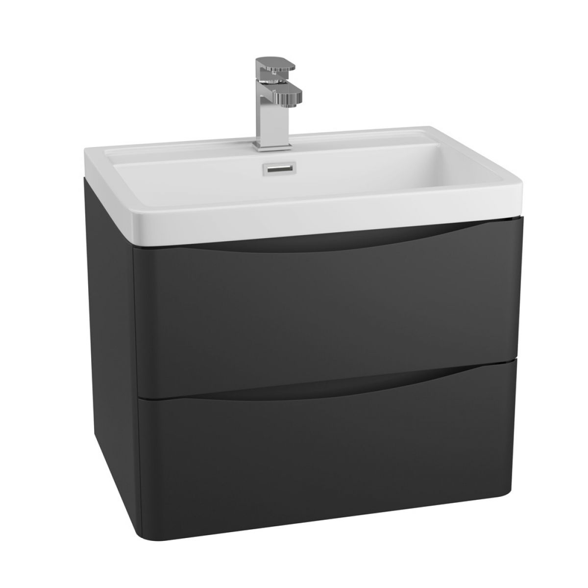 Bali Matt Black Wall Mounted Vanity Unit 600mm