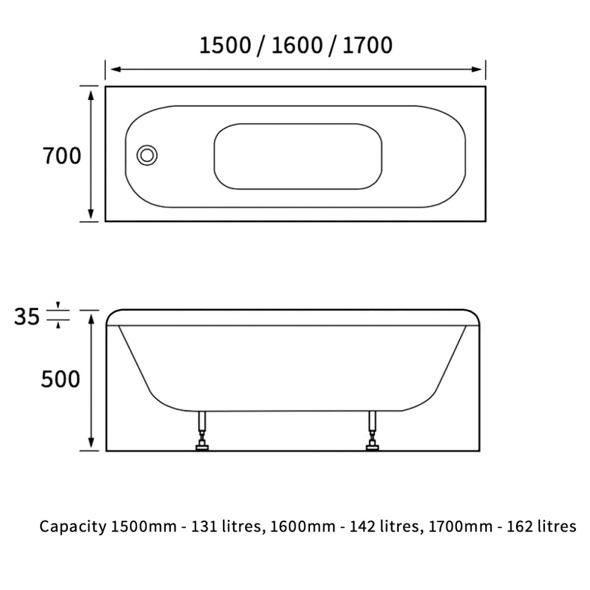 Bathrooms To Love Rectangular 2 Tap Hole Single Ended Steel Bath 1700mm x 700mm Line Drawing