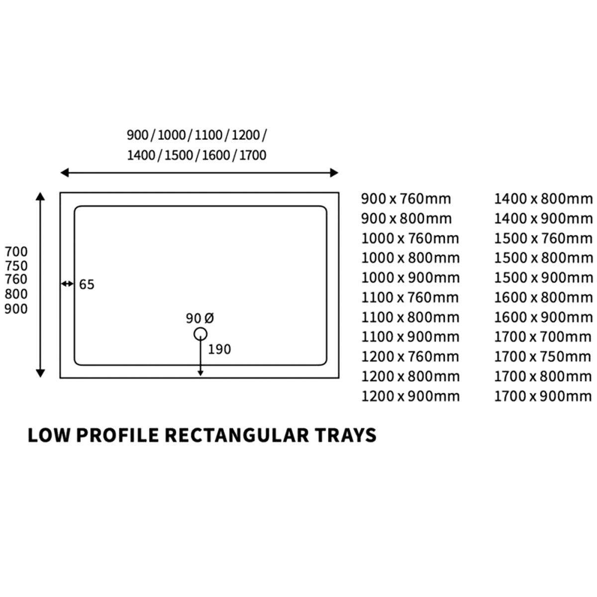 Bathrooms To Love Reflex Rectangular Low Profile Shower Tray with Waste 900mm x 800mm Line Drawing