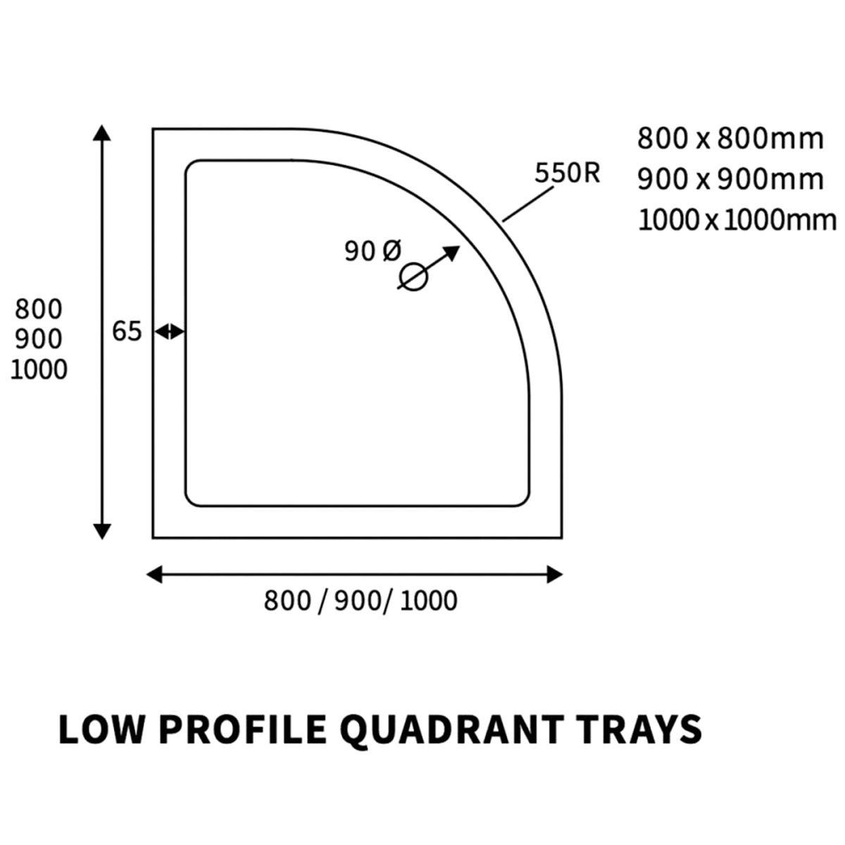 Bathrooms To Love Reflex Quadrant Low Profile Shower Tray with Waste 1000mm x 1000mm Line Drawing