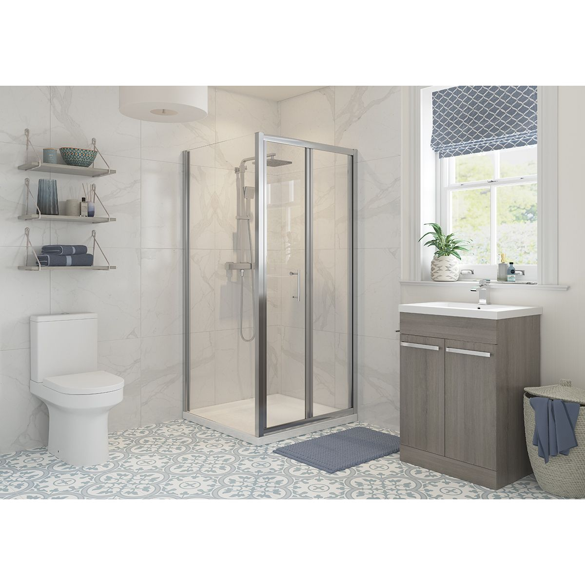 Bathrooms To Love RefleXion Classix Bifold Shower Door with Optional Side Panel 1