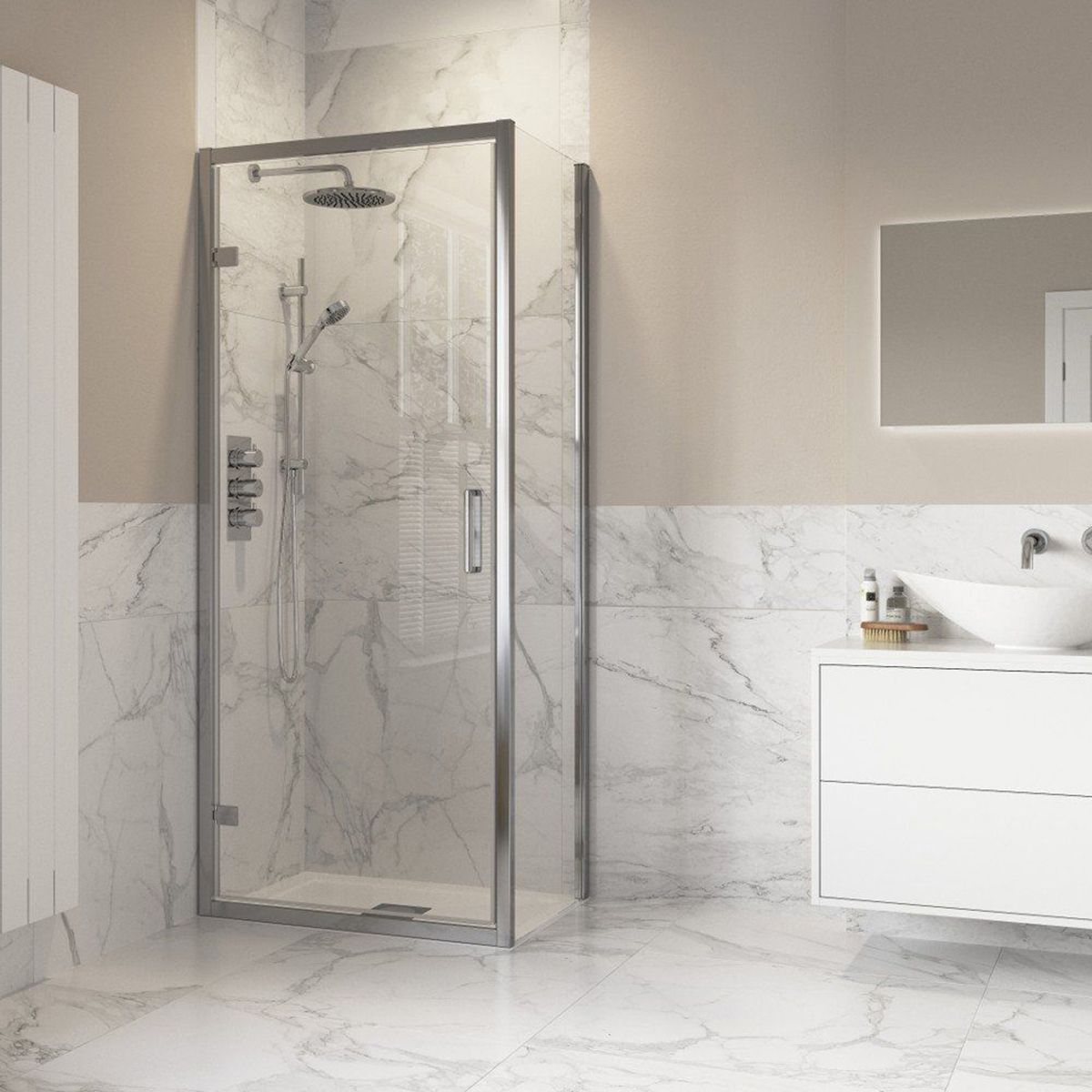 Bathrooms To Love Reflexion Iconix Hinged Shower Door with Optional Side Panel 1