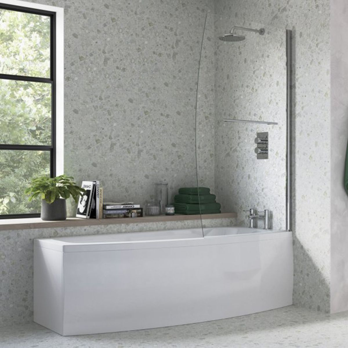 Bathrooms To Love Spacesaver White Offset Bath with Front Panel and Screen Right Handed 1