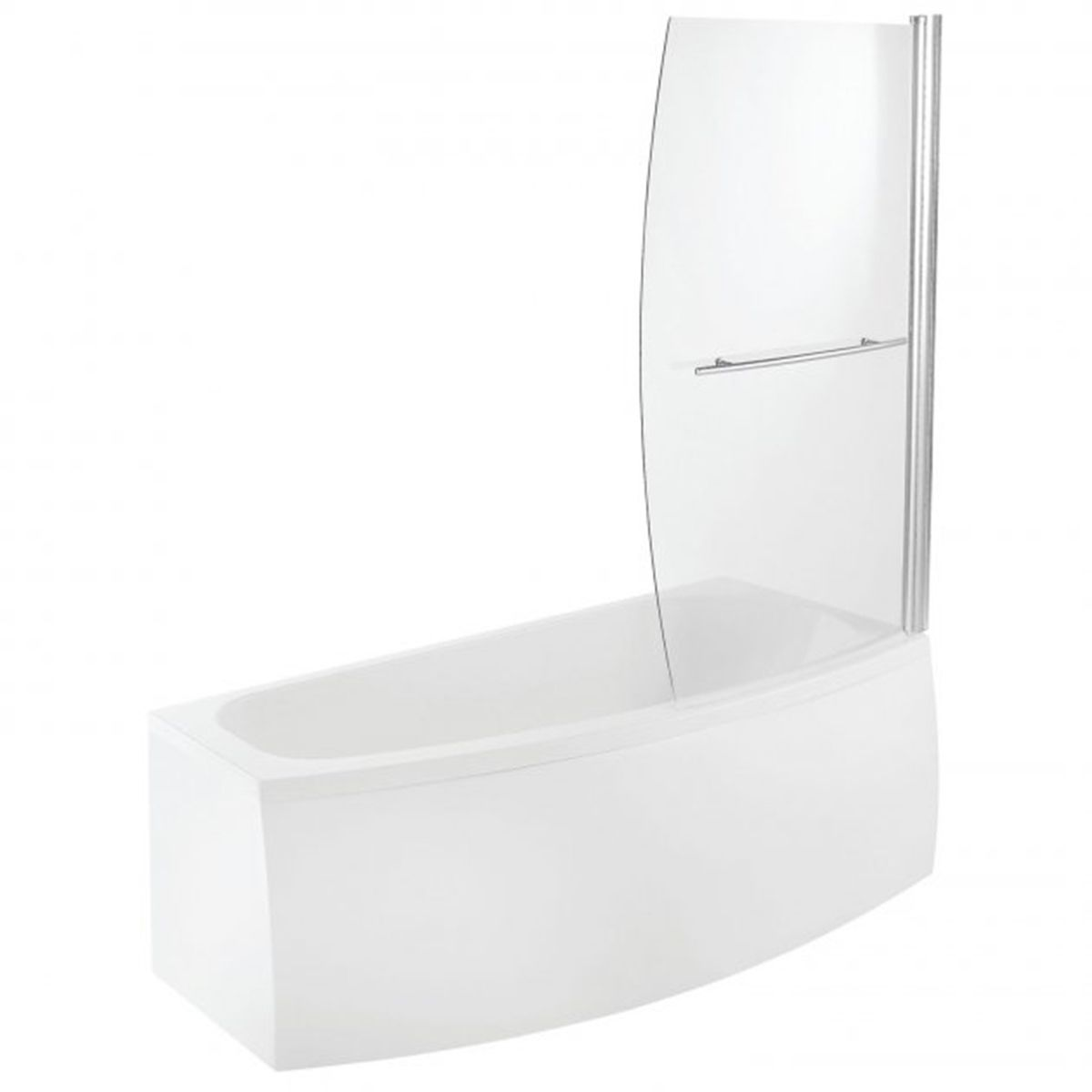 Bathrooms To Love Spacesaver White Offset Bath with Front Panel and Screen Right Handed