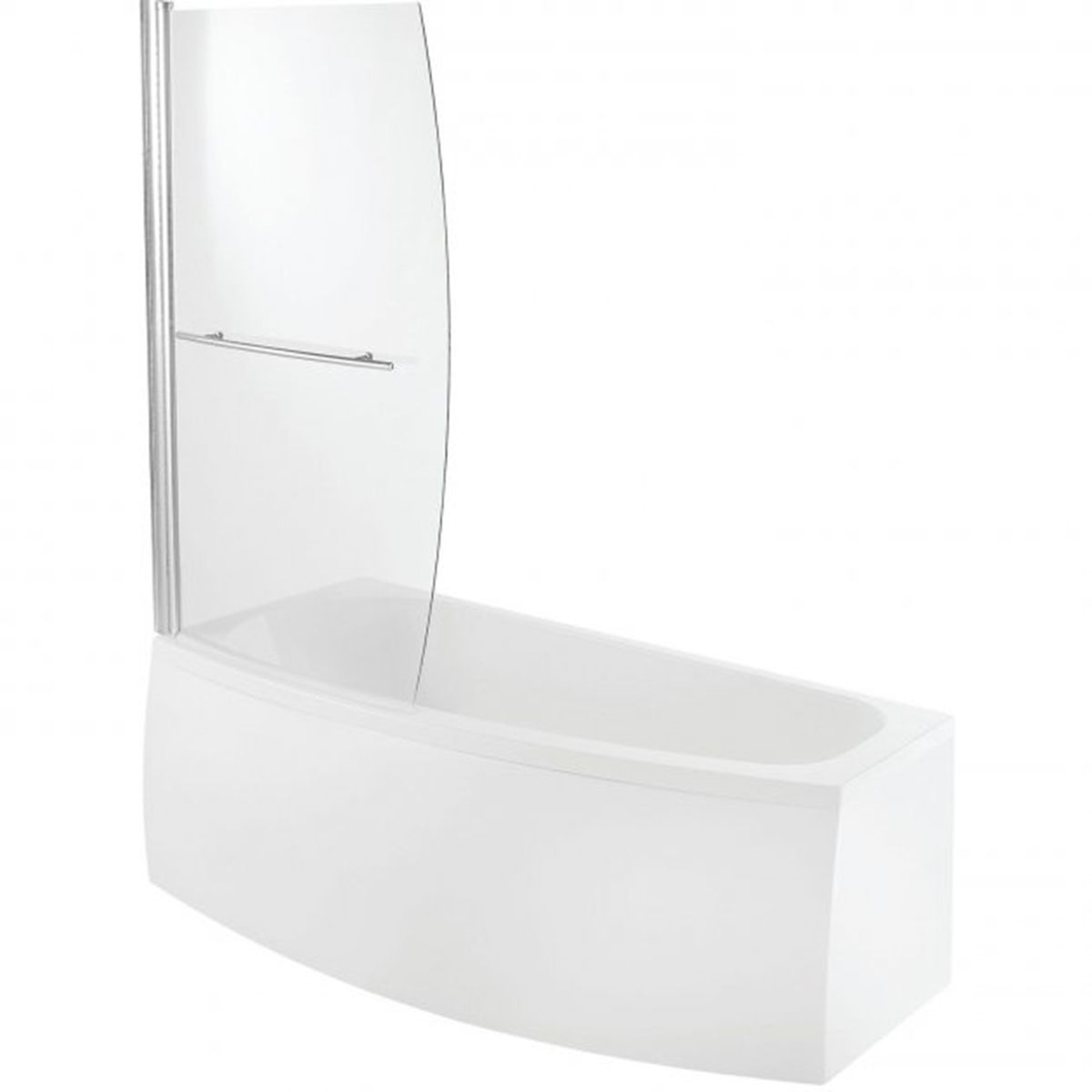 Bathrooms To Love Spacesaver White Offset Bath with Front Panel and Screen Left Handed