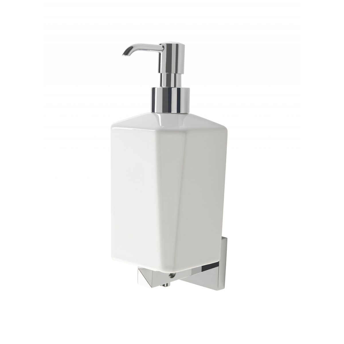 Bathrooms To Love Vitti Chrome and White Wall Mounted Soap Dispenser