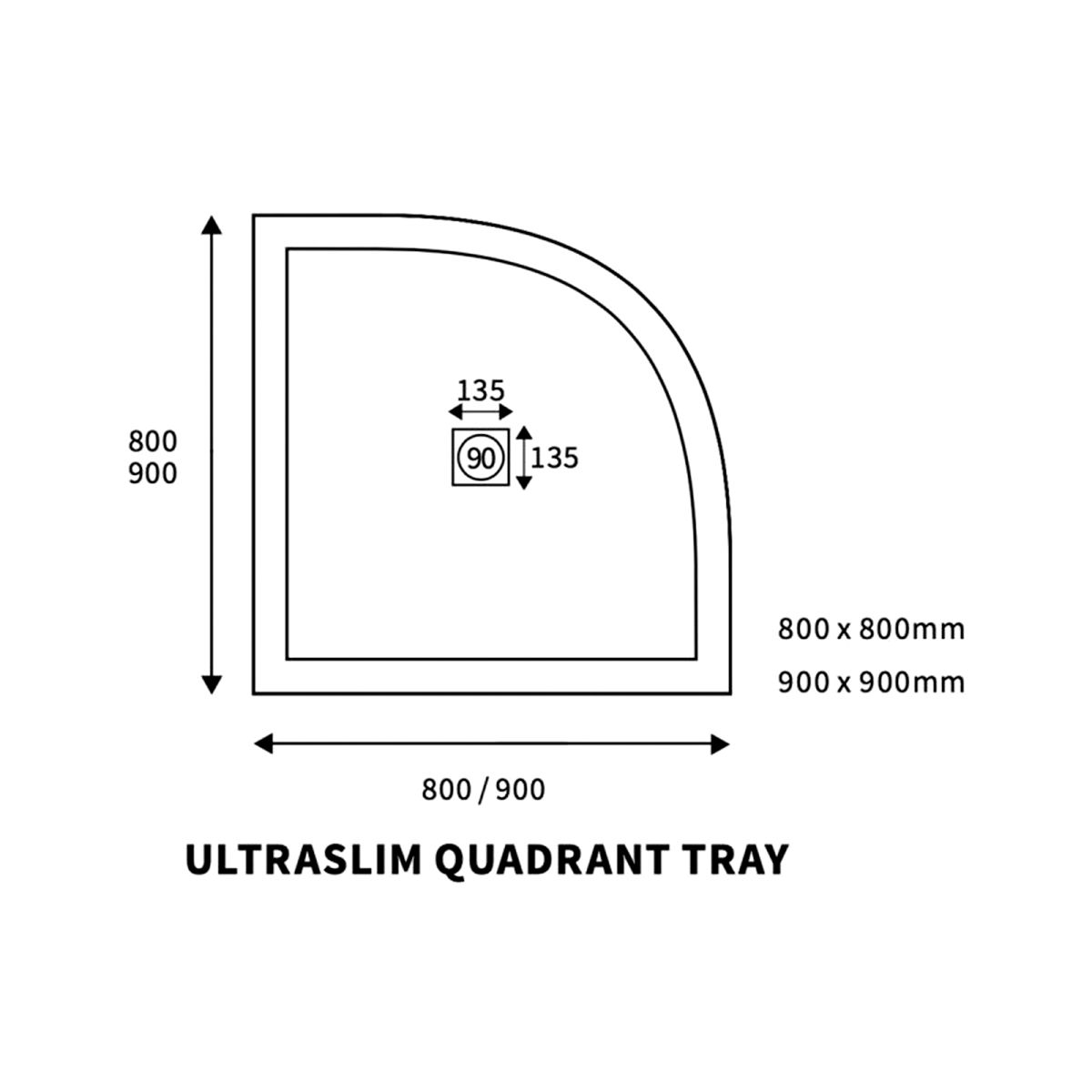 Bathrooms To Love White Quadrant Ultraslim Shower Tray with Waste 800mm x 800mm Line Drawing