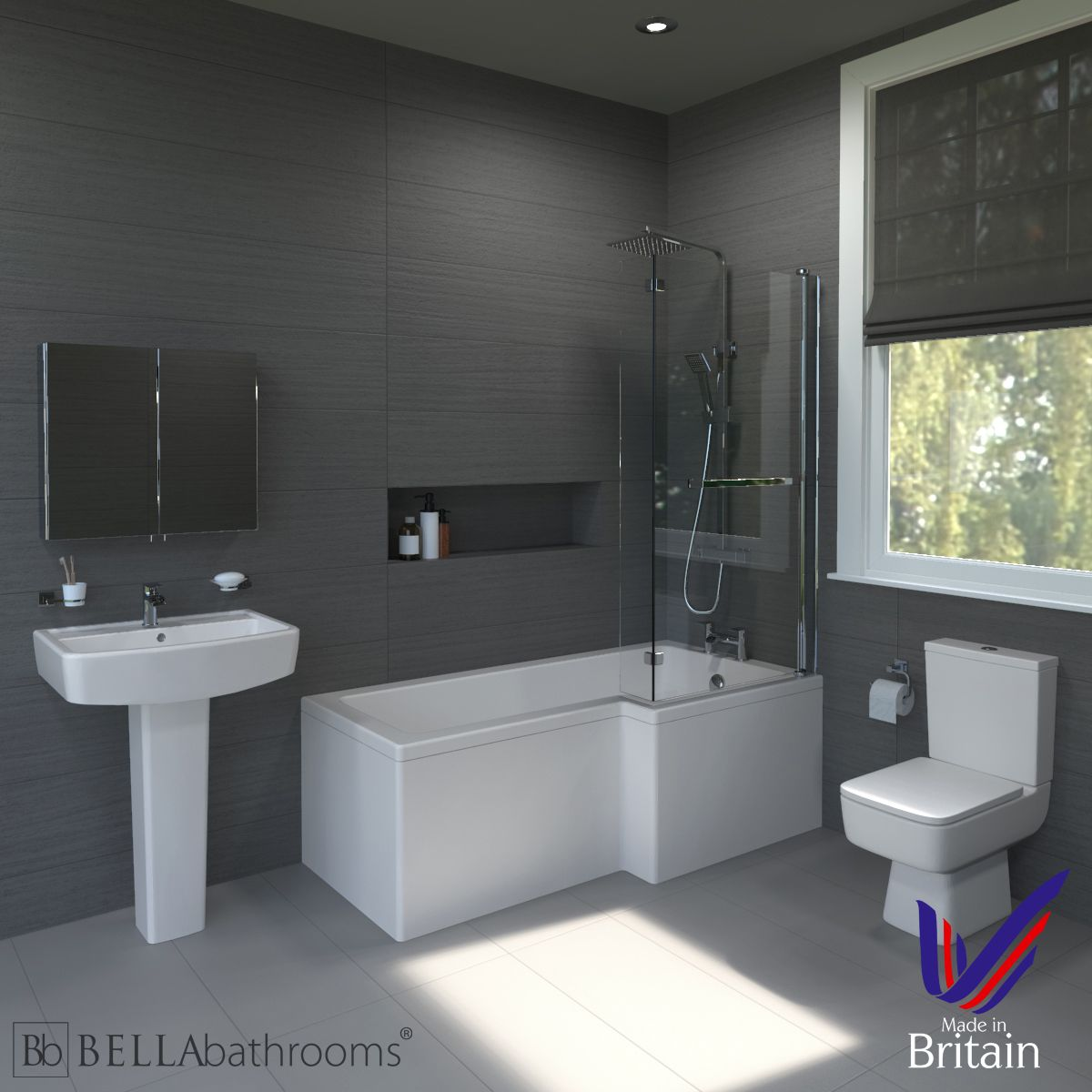 Bliss Right Handed L Shaped Shower Bath Suite