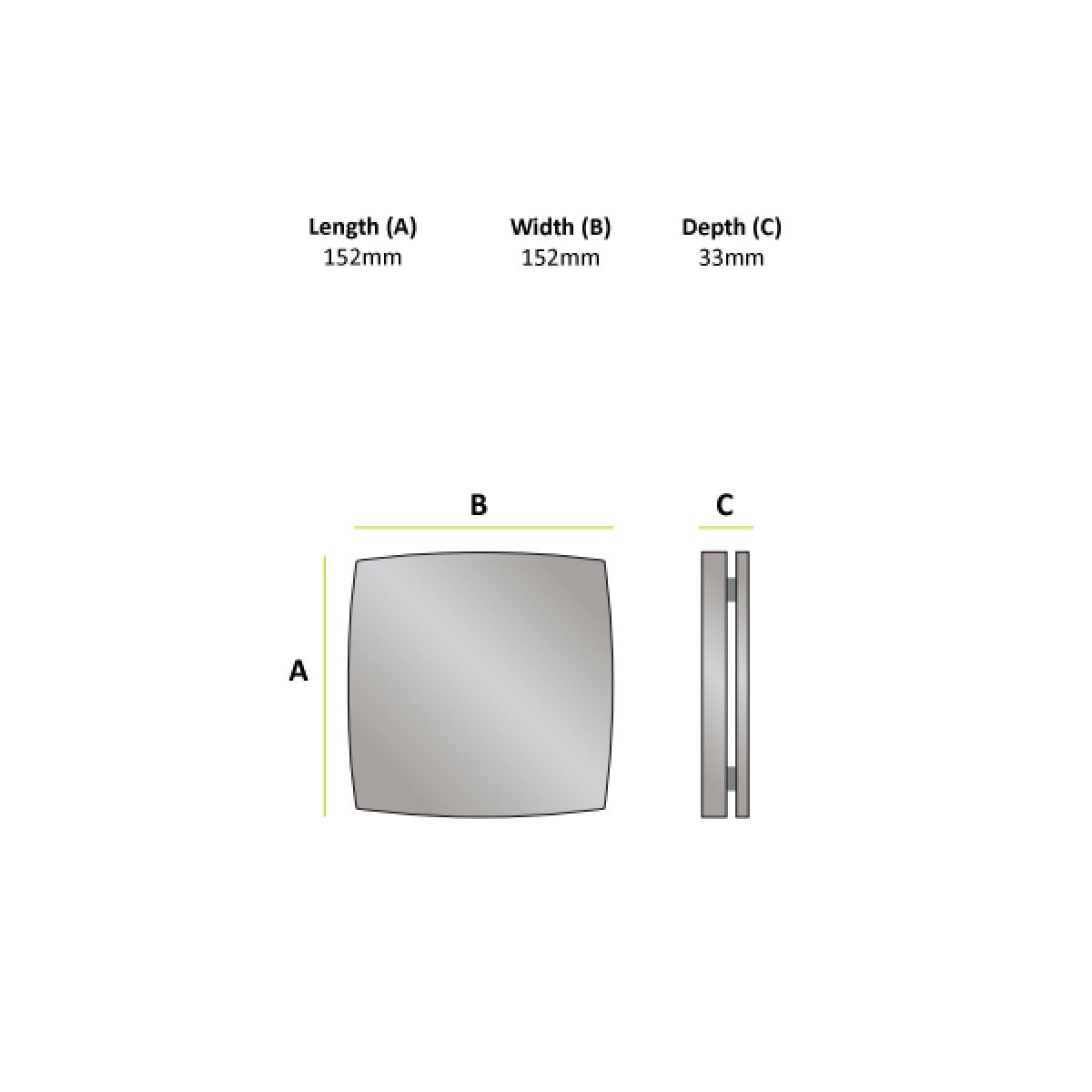 HiB Breeze SELV Wall Mounted Chrome Wet Room Extractor Fan Dimensions