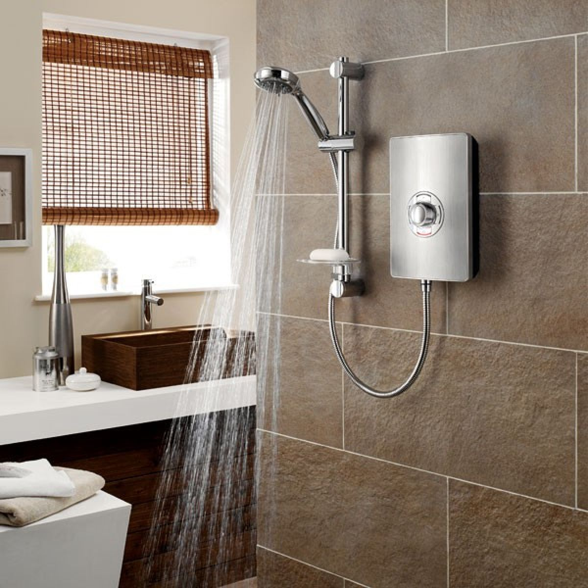 Triton Aspirante Brushed Steel Electric Shower in Situation