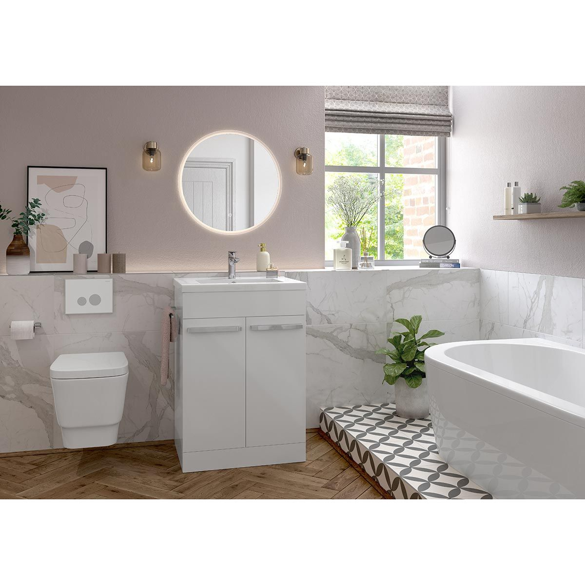 Morina White Gloss with Inset Basin Lifestyle
