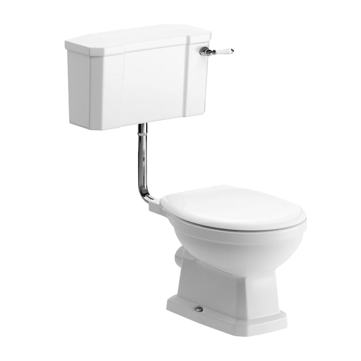BTL Sherbourne Low Level Toilet with Grey Ash Wood Effect Seat